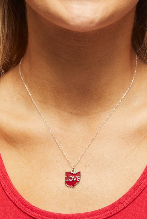 Ohio Love - Enamel Pendant Necklace - CLE Clothing Co.