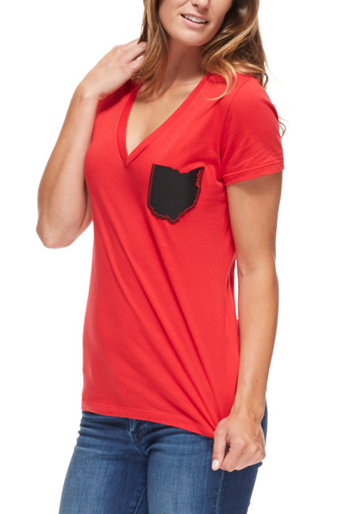 Ohio pocket red black women 39 s v neck cle clothing co for Pocket tee shirts for womens