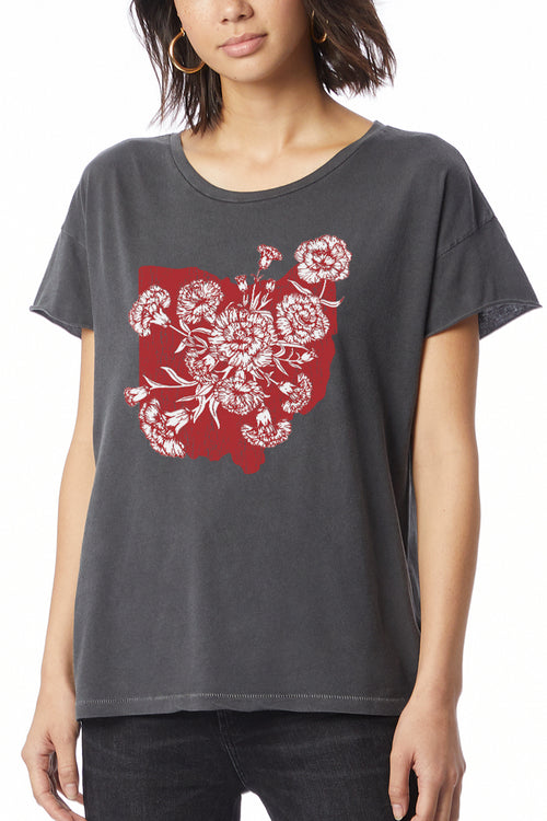 Ohio Carnation - Womens Relaxed Crew