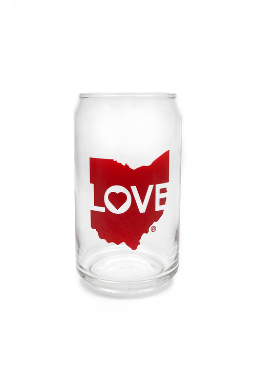Ohio Love Logo Pop Can Glass - CLE Clothing Co.