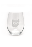 Ohio Love Stemless Wine Glass - CLE Clothing Co.