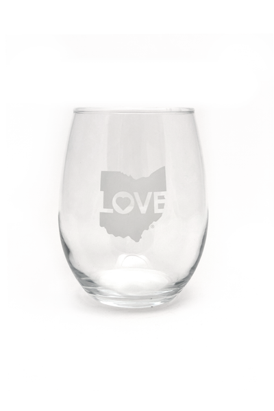 Ohio Love Stemless Wine Glass