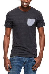 Ohio Pocket Tee - Tri-Black & Heather Grey - Unisex Crew