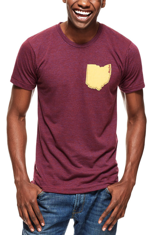 Ohio Pocket Tee - Wine & Gold - Unisex Crew