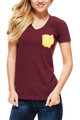 Ohio Pocket Tee - Wine & Gold - Women's Crew