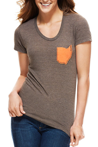 Ohio Pocket Tee - Brown & Orange - Women's Crew