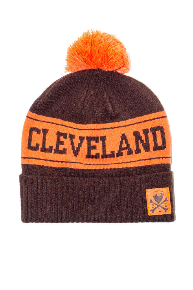 Cleveland Knit Pom Beanie - Brown & Orange