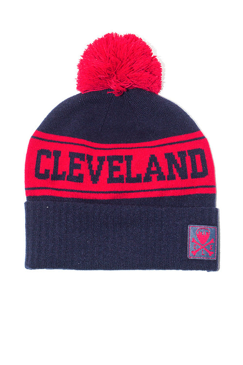Cleveland Knit Pom Beanie - Navy & Red
