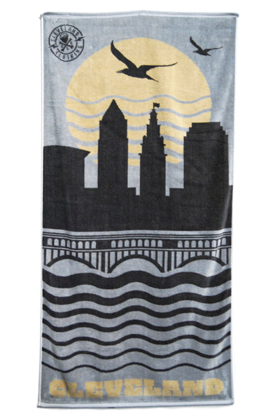 Cleveland Skyline Beach Towel - Silver - CLE Clothing Co.