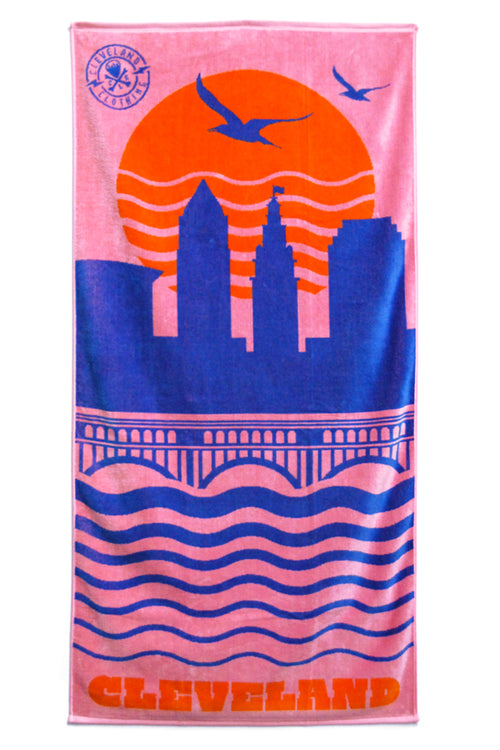 Cleveland Skyline Beach Towel - Soft Pink - CLE Clothing Co.