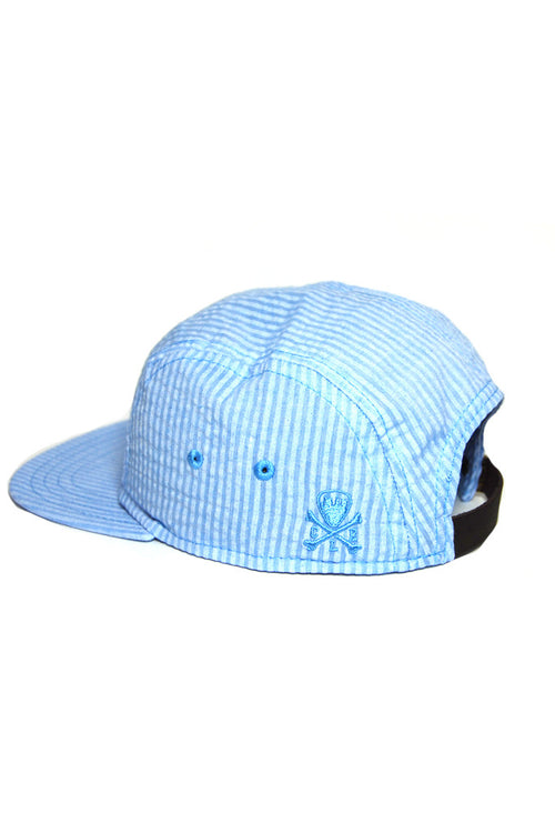 CLE Logo Seersucker 5 Panel Hat - Blue