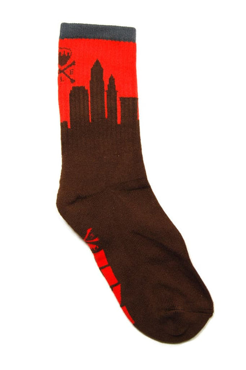 Skyline Sock - 2017 - Brown & Orange - CLE Clothing Co.