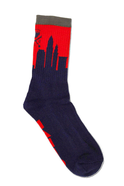 Skyline Sock - 2017 - Navy & Red - CLE Clothing Co.