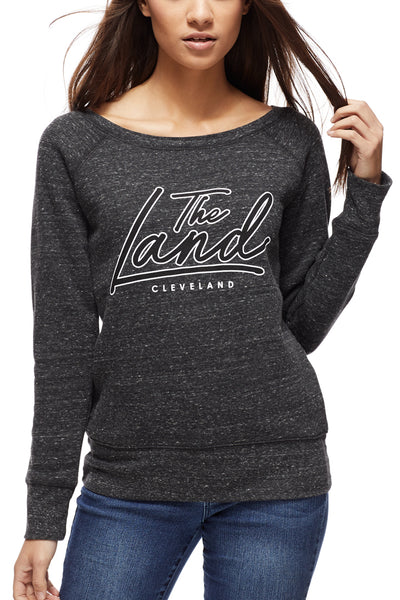 The Land Script - Women's Pullover Fleece Crew - Black