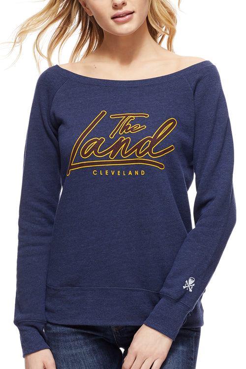The Land Script - Women's Fleece Crew - Navy - CLE Clothing Co.