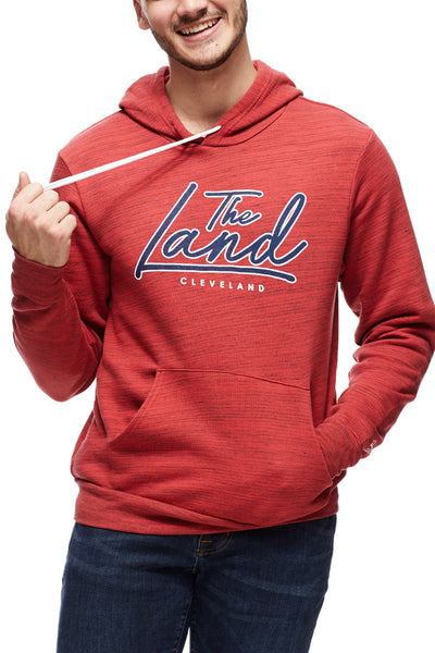 The Land Script - Pullover Hoodie - Navy/Red - CLE Clothing Co.