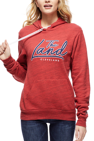The Land Script - Pullover Hoodie - Navy/Red