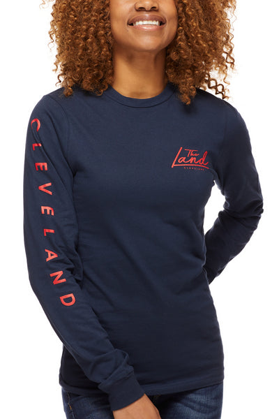 The Land Script - Unisex Long-Sleeve Crew - Navy - CLE Clothing Co.