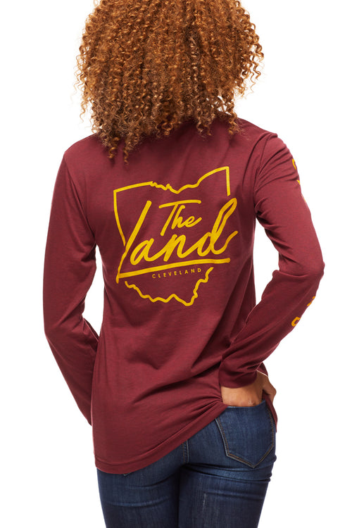 The Land Script - Unisex Long-Sleeve Crew - Wine