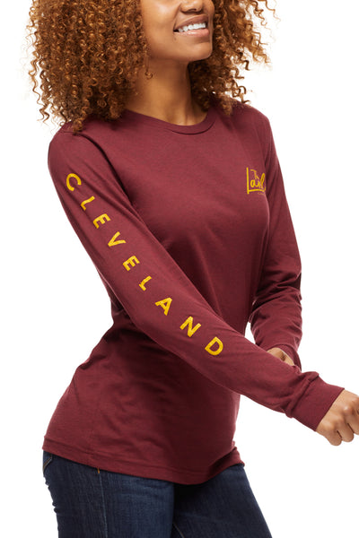The Land Script - Unisex Long-Sleeve Crew - Wine - CLE Clothing Co.