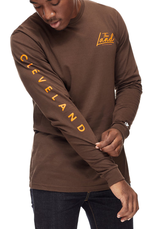The Land Script - Unisex Long-Sleeve Crew - Brown