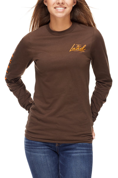 The Land Script - Unisex Long-Sleeve Crew - Brown - CLE Clothing Co.