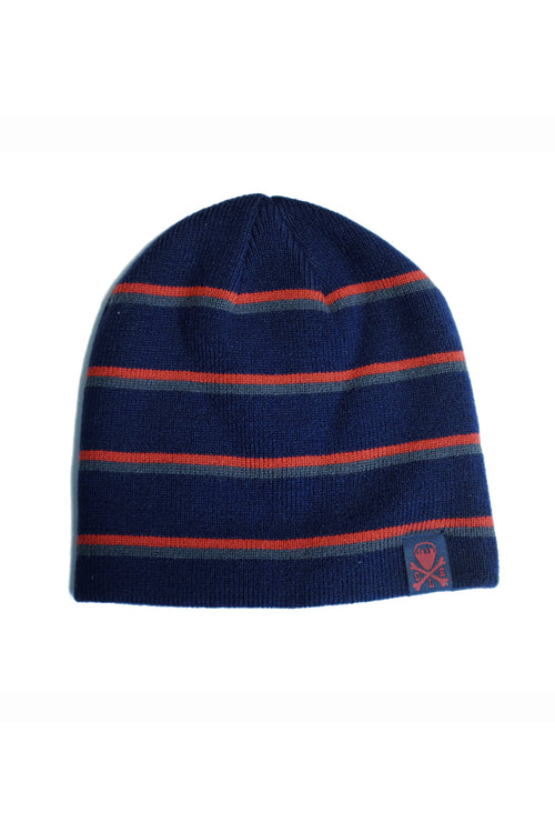 CLE Logo Striped Knit Beanie - Navy/Red/Grey
