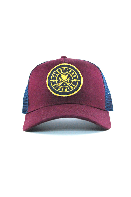 CLE Logo Trucker - Wine/Gold - CLE Clothing Co.