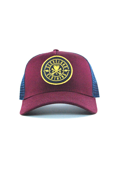 CLE Logo Trucker - Wine/Gold