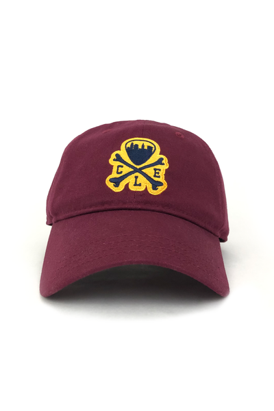 CLE Logo Relaxed Fit Dad Hat - Maroon - CLE Clothing Co.
