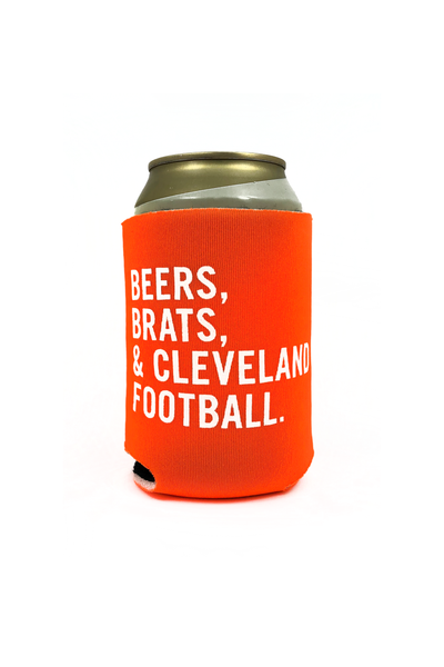 Beers Brats & Cleveland Football Can Cooler - CLE Clothing Co.