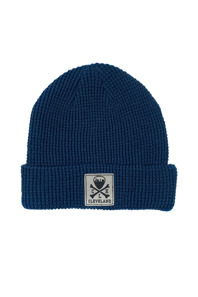 CLE Logo Waffle Knit Beanie - Slate Blue - CLE Clothing Co.