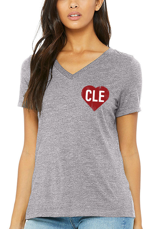 CLE Heart - Womens Relaxed V-Neck