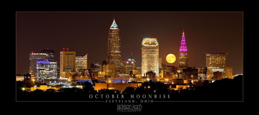 "October Moon Rise Poster - 16"" X 36"""