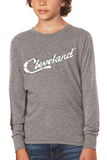 Cleveland Script Holiday Lights - Youth Long Sleeve Crew
