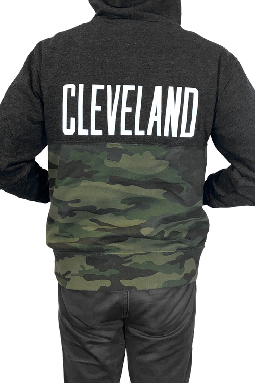 CLE Logo/CLEVELAND Unisex Two Tone Camo Pullover Hoodie
