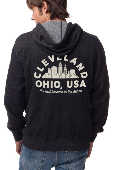 CLE College Pullover Hoodie - Navy/Red - Athletic Grey