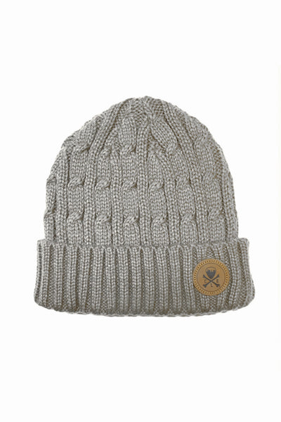 CLE Logo Cable Knit Beanie - Grey
