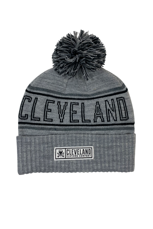 Cleveland Jacquard Pom Beanie - Grey - CLE Clothing Co.