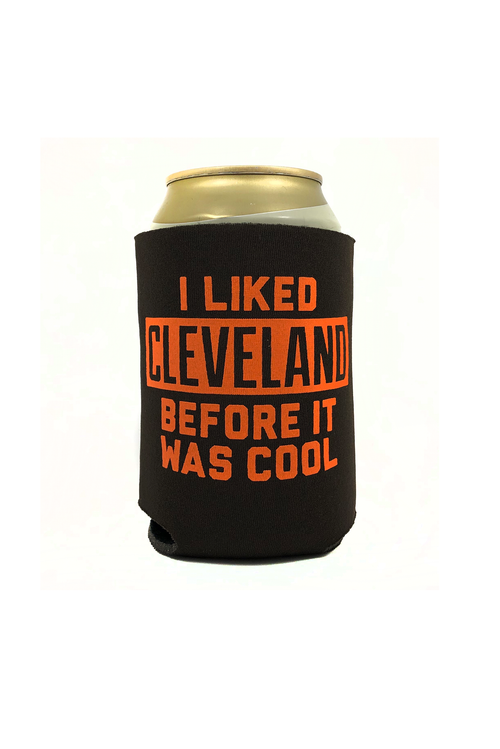 I Liked Cleveland Before It Was Cool Can Cooler - Brown/Orange - CLE Clothing Co.