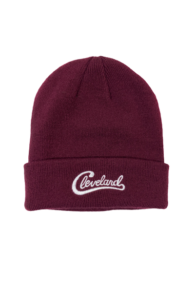 Groovy Cleveland Script Beanie - Maroon - CLE Clothing Co.