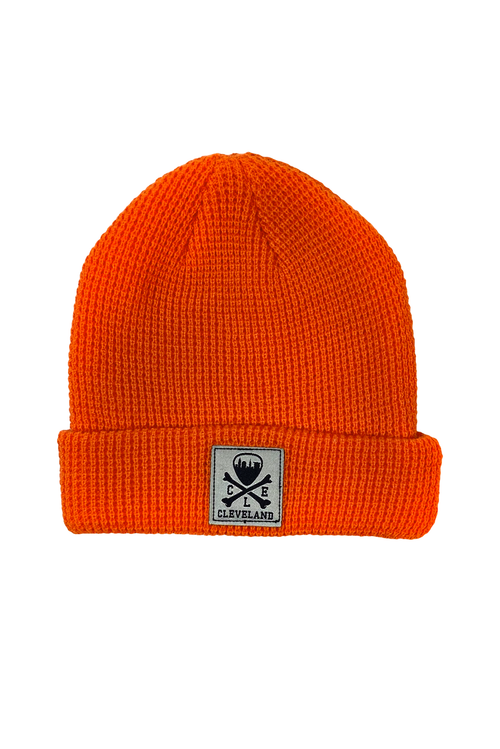 CLE Logo Waffle Knit Beanie - Orange - CLE Clothing Co.