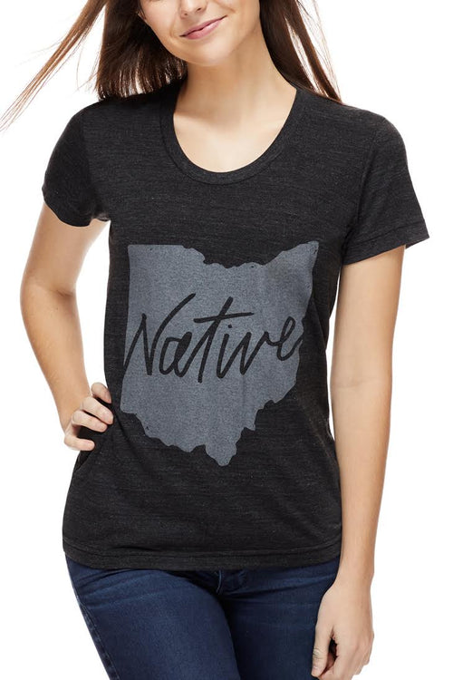 Native Ohioan - Womens Crew - Tri - Black - CLE Clothing Co.