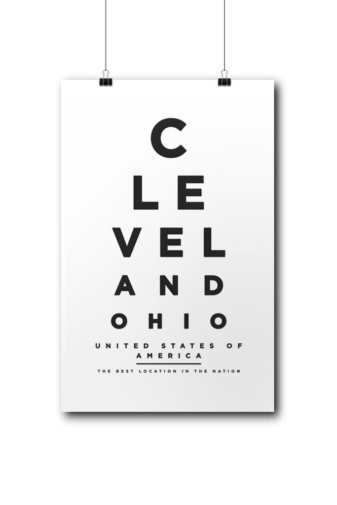 Cleveland Eye Chart Poster Cle Clothing Co