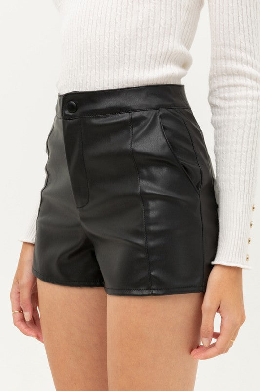 We're Better Faux Leather Shorts