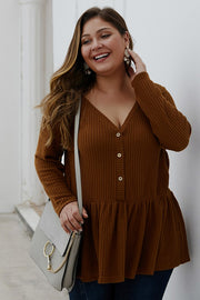 Roast Marshmallows Thermal Peplum Top