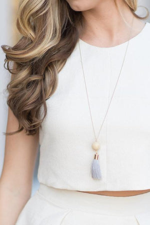 Meeko Stone Tassel Necklace - Imagine Boutique
