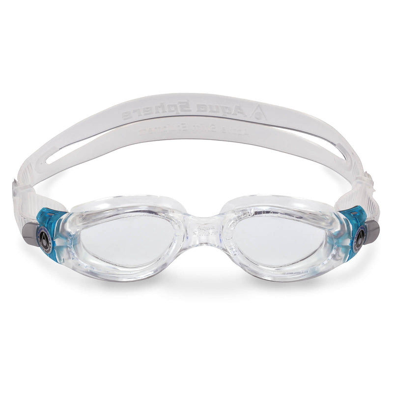 Aqua Sphere Kaiman Small Men's Swimming Goggles Transparent/Turquoise Clear Alternate 1