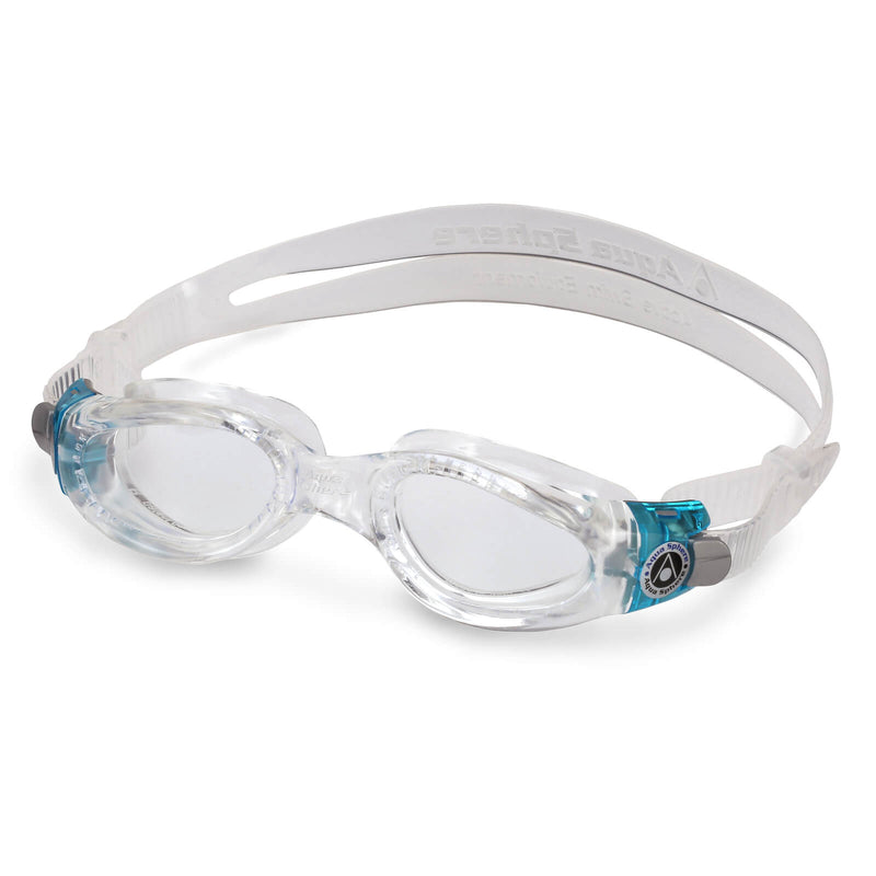 Aqua Sphere Kaiman Small Men's Swimming Goggles Transparent/Turquoise Clear Alternate 2