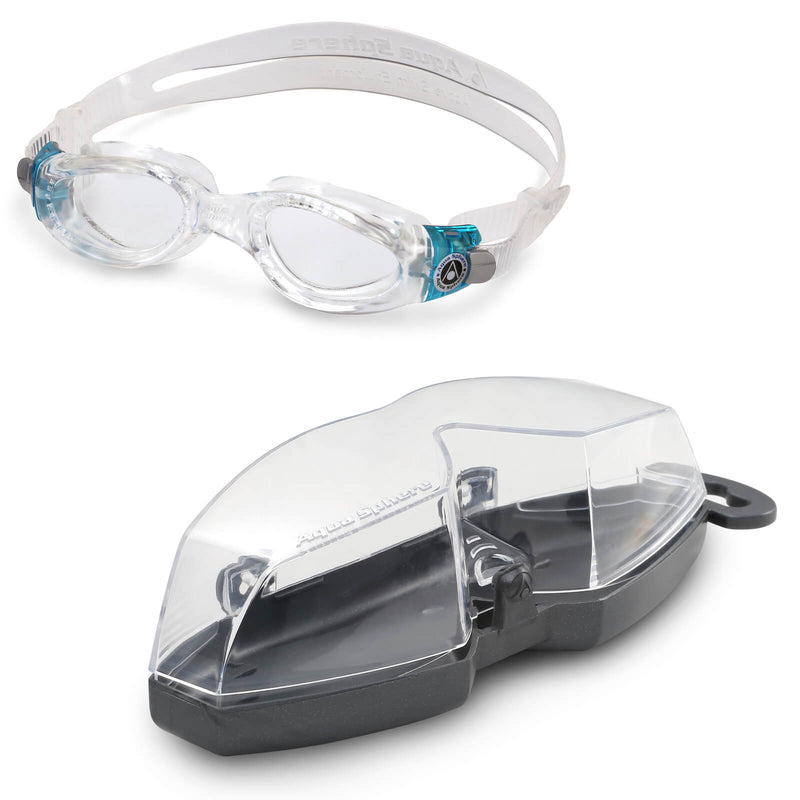 Aqua Sphere Kaiman Small Men's Swimming Goggles Transparent/Turquoise Clear Alternate 4